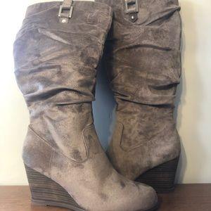 Dr. Scholl's Knee High Wedge Heel Faux Suede Boots